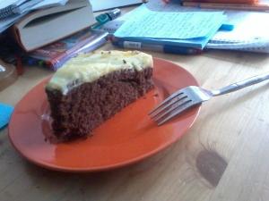 Kuchen mit Vanillepudding